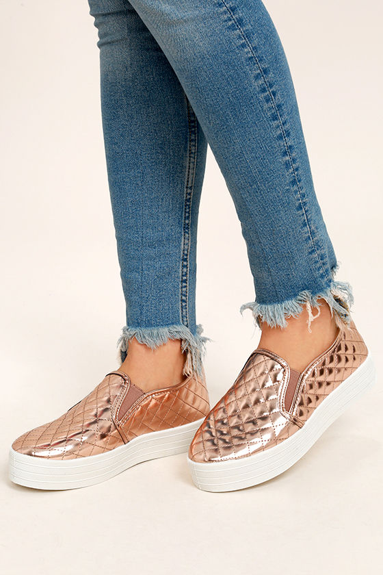 aa21b1dd2ef Stylish Rose Gold Sneakers - Flatform Sneakers - Quilted Metallic ...