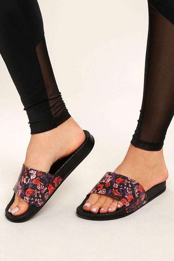 comfy black sandals slide sandals rose print sandals black