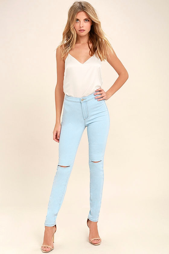 Practice Makes Perfect Light Wash High-Waisted Skinny Jeans 1 - Cool Light Wash Jeans - High-Waisted Jeans - $39.00