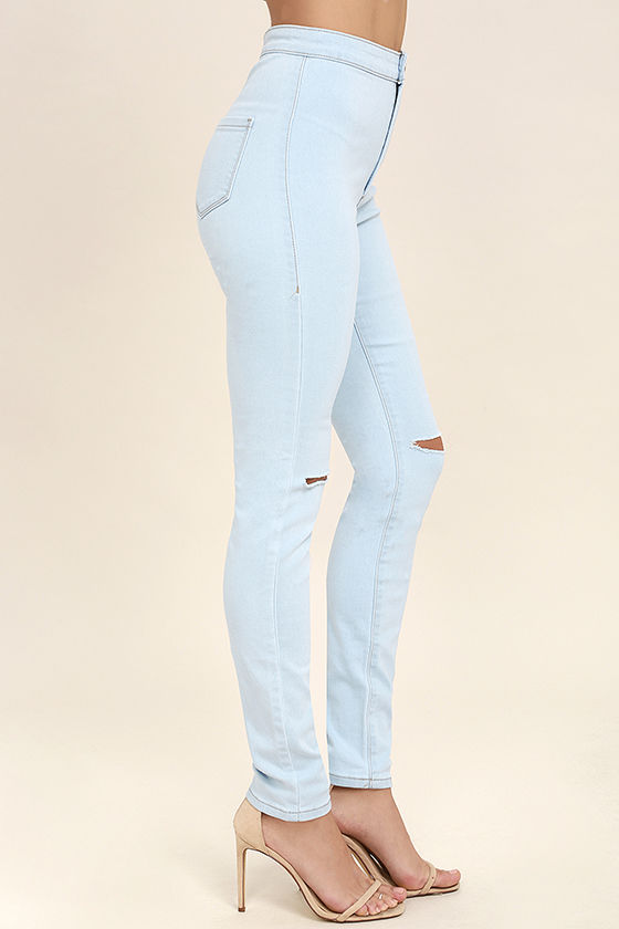 Practice Makes Perfect Light Wash High-Waisted Skinny Jeans 3
