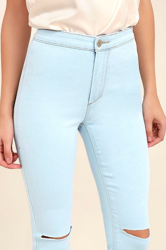 Practice Makes Perfect Light Wash High-Waisted Skinny Jeans 5
