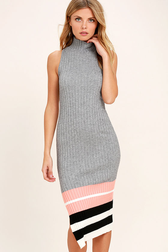 Obey Marina Grey Striped Midi Sweater Dress 1
