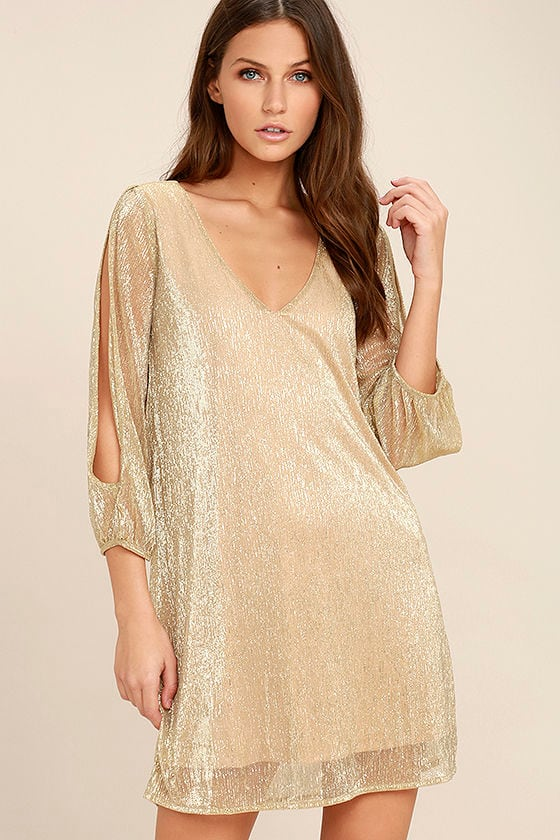 I'm Glistening Gold Long Sleeve Shift Dress 1