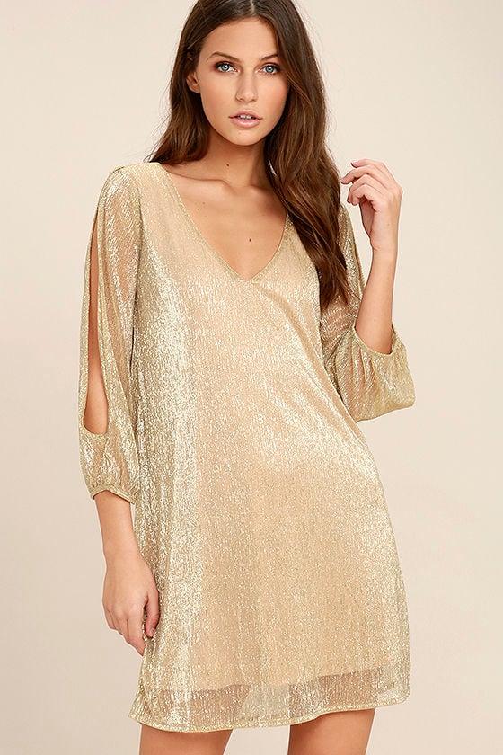 Stunning Gold Dress - Metallic Dress - Shift Dress - Long Sleeve ...