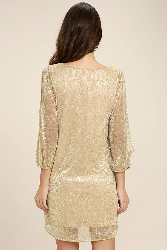 I'm Glistening Gold Long Sleeve Shift Dress 4