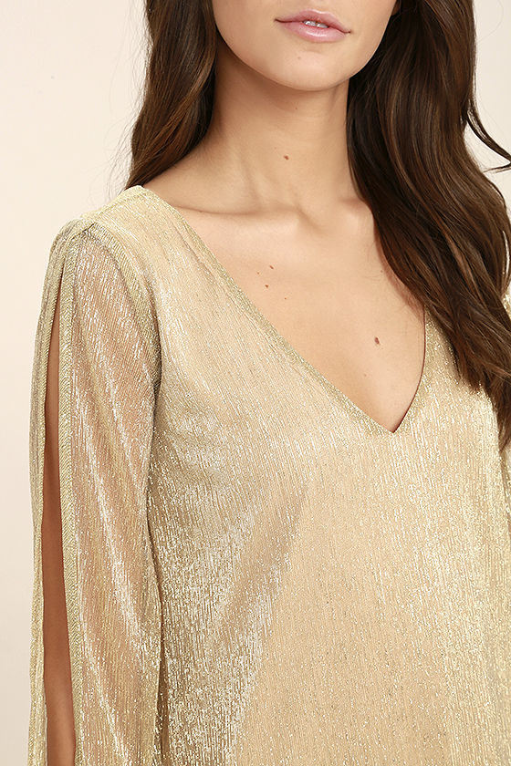 I'm Glistening Gold Long Sleeve Shift Dress 5