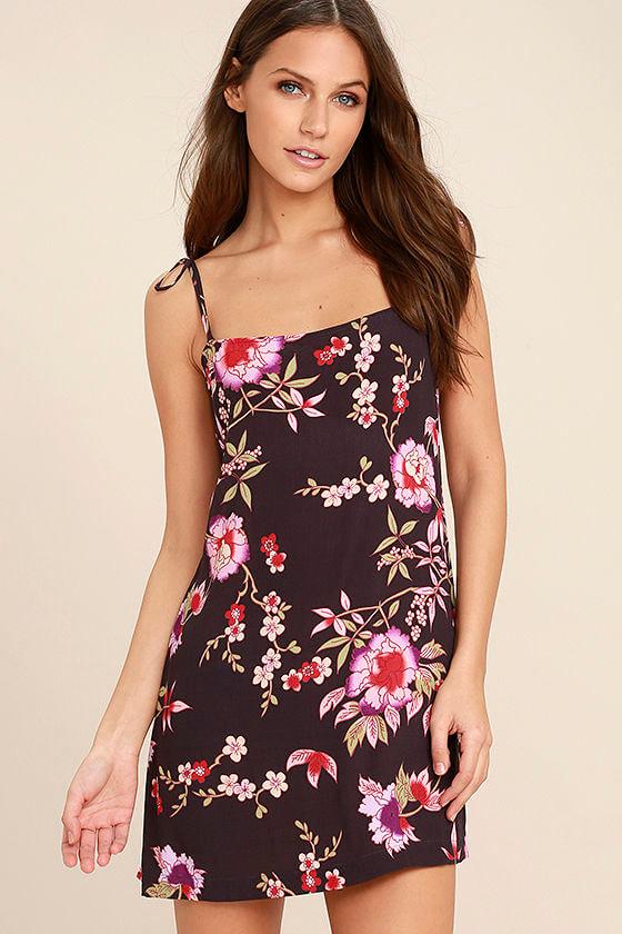 2cda8fab115a Cute Plum Purple Print Dress - Floral Print Dress - Shift Dress - Tie Strap  Dress - $48.00
