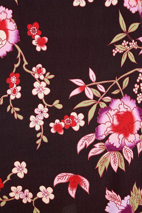 Sugar Town Plum Purple Floral Print Shift Dress 6