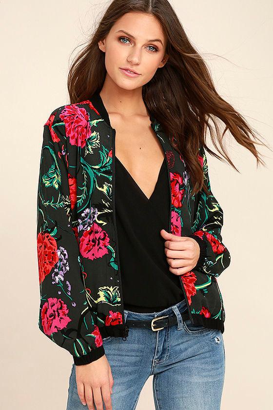 Obey Jinx Jacket - Black Floral Print Jacket - Reversible Bomber ...