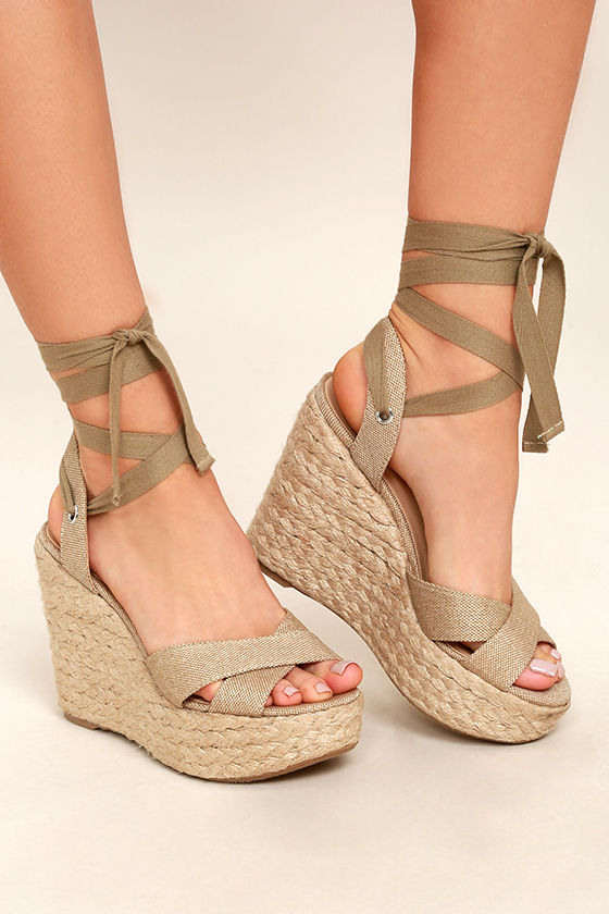 Stylish Beige Wedges Espadrille Wedges Lace Up Wedges