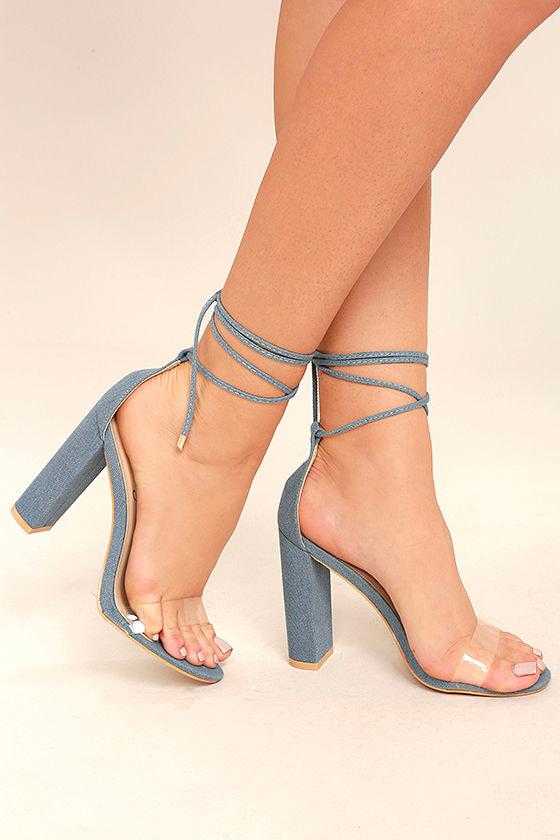 Maricela Denim Lace-Up Heels 1