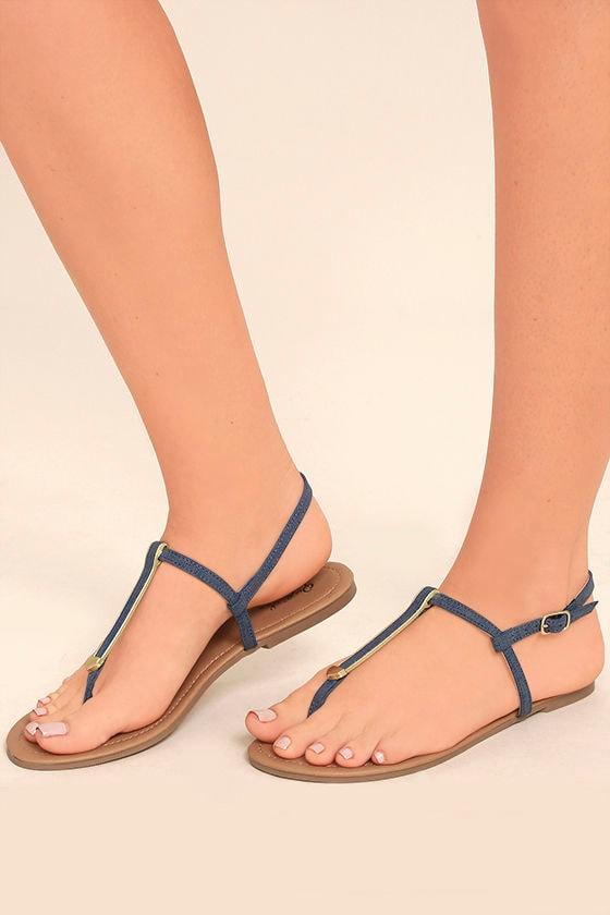 Cameron Blue Denim Flat Sandals 2