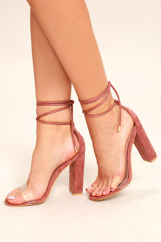 d8ca37d6abb Chic Blush Heels Blush And Lucite Heels Laceup Heels Legwrap Heels ...