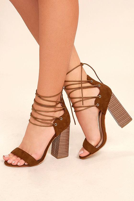 Darcia Camel Suede Lace-Up Heels 1