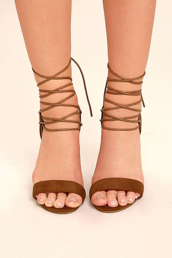 Darcia Camel Suede Lace-Up Heels 2