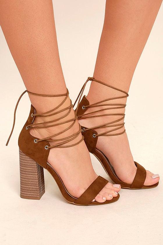 Darcia Camel Suede Lace-Up Heels 3