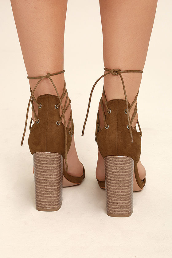 Darcia Camel Suede Lace-Up Heels 4