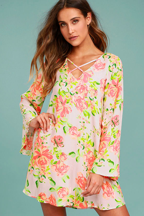 In High Spirits Blush Pink Floral Print Shift Dress 1
