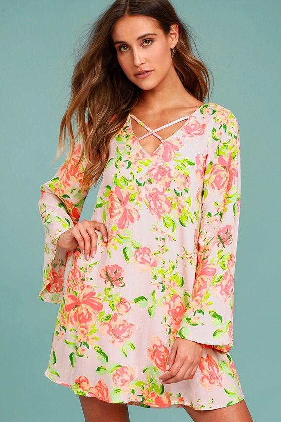 In High Spirits Blush Pink Floral Print Shift Dress 1
