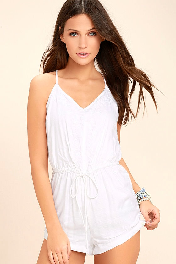 Element Eden Roses White Embroidered Romper 1