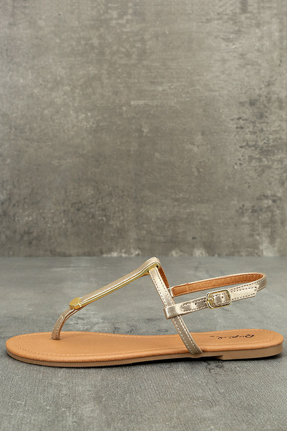 Cameron Gold Distressed Flat Sandals 1
