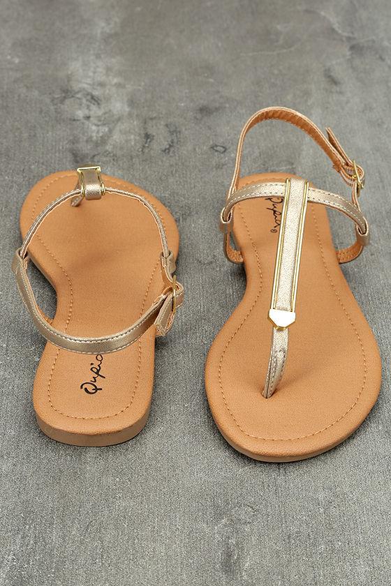 Cameron Gold Distressed Flat Sandals 3
