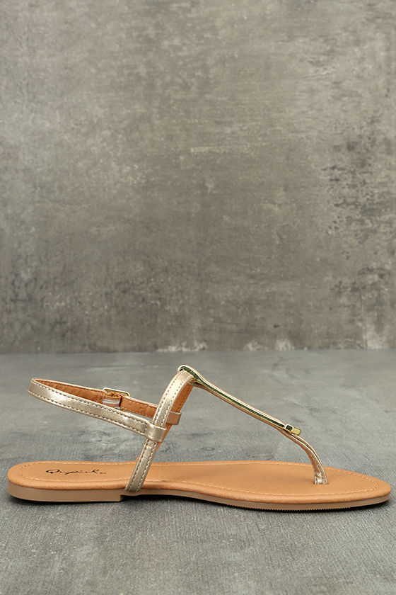 Cameron Gold Distressed Flat Sandals 4