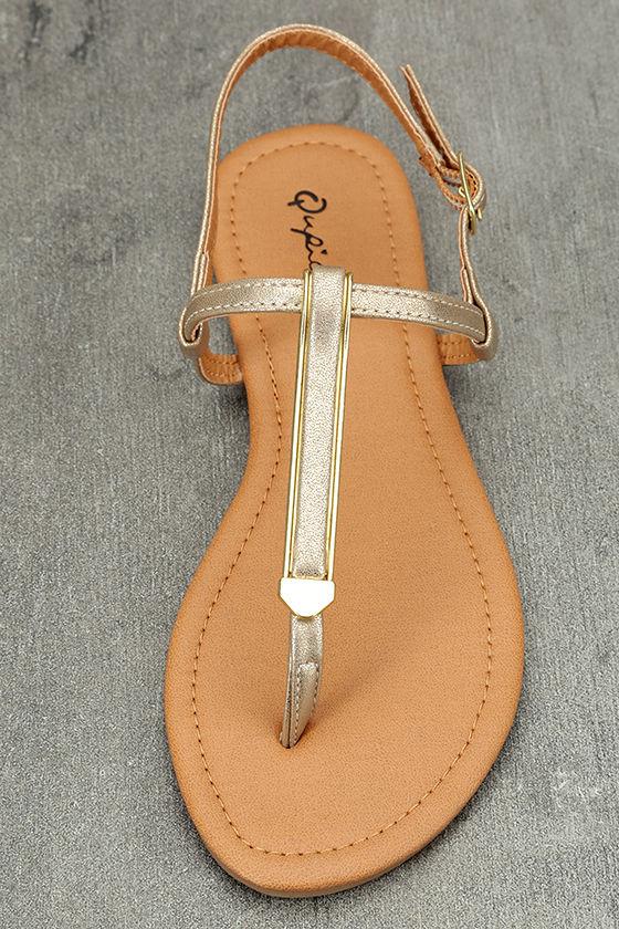 Cameron Gold Distressed Flat Sandals 5