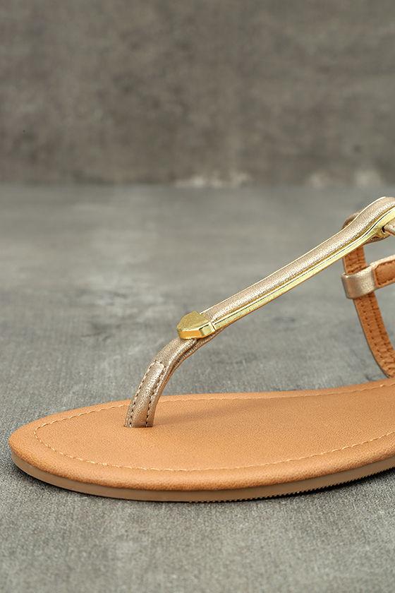 Cameron Gold Distressed Flat Sandals 6