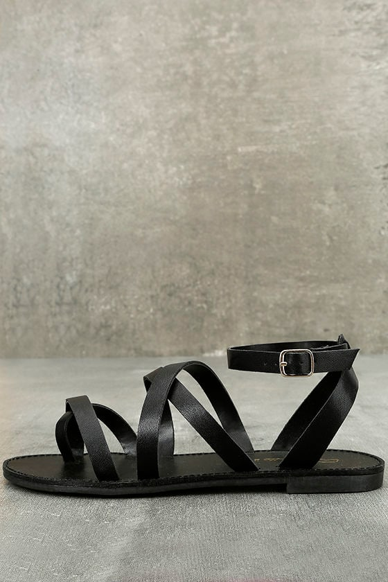 b9fac556f48 Cute Black Flat Sandals - Thong Sandals - Ankle Strap Sandals -  17.00