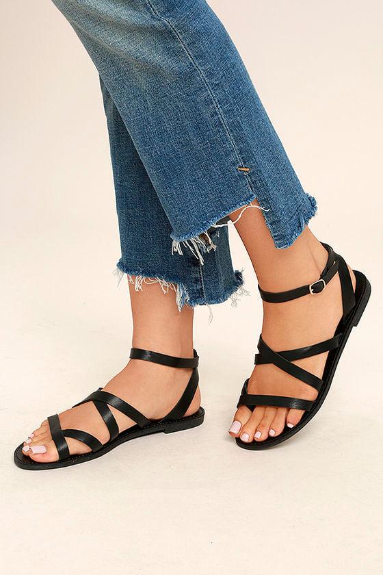 Sonata Black Ankle Strap Flat Sandals 2