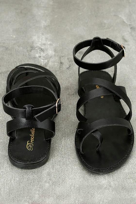 Sonata Black Ankle Strap Flat Sandals 3