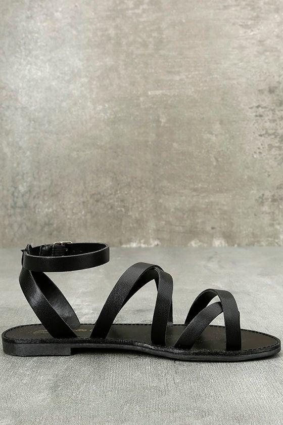 Sonata Black Ankle Strap Flat Sandals 4