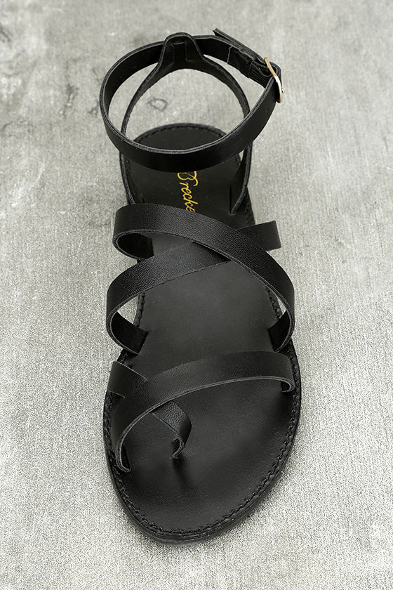 Sonata Black Ankle Strap Flat Sandals 5
