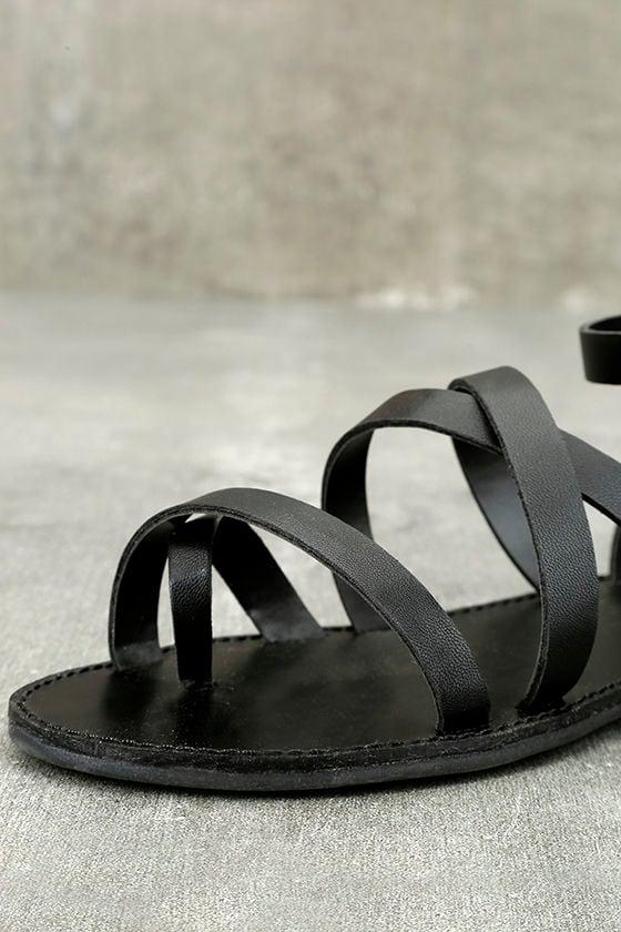 Sonata Black Ankle Strap Flat Sandals 6