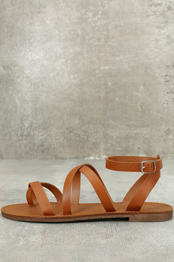 Sonata Tan Ankle Strap Flat Sandals 1