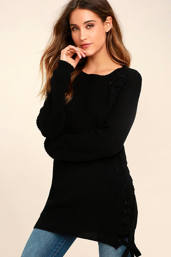Right Now Black Lace-Up Sweater 1