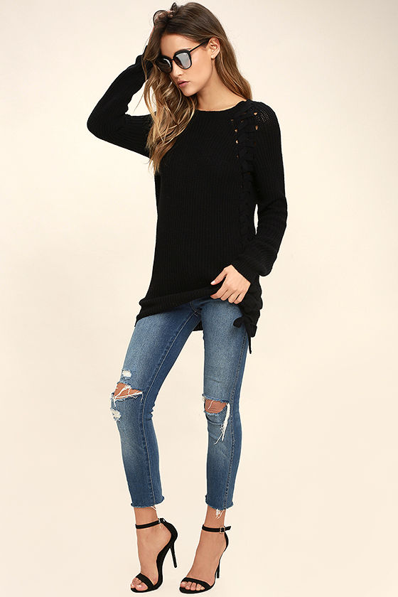 Right Now Black Lace-Up Sweater 2