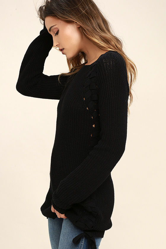 Right Now Black Lace-Up Sweater 3