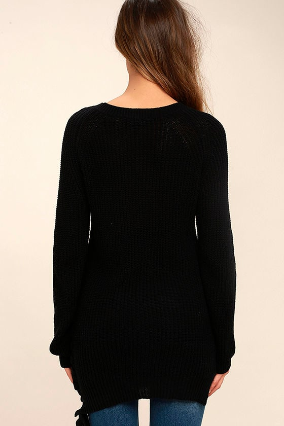 Right Now Black Lace-Up Sweater 4
