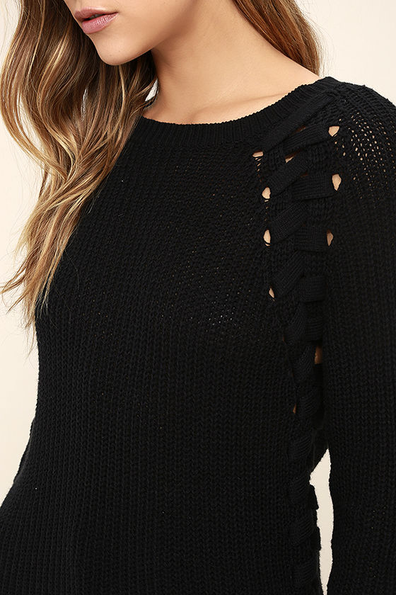 Right Now Black Lace-Up Sweater 5