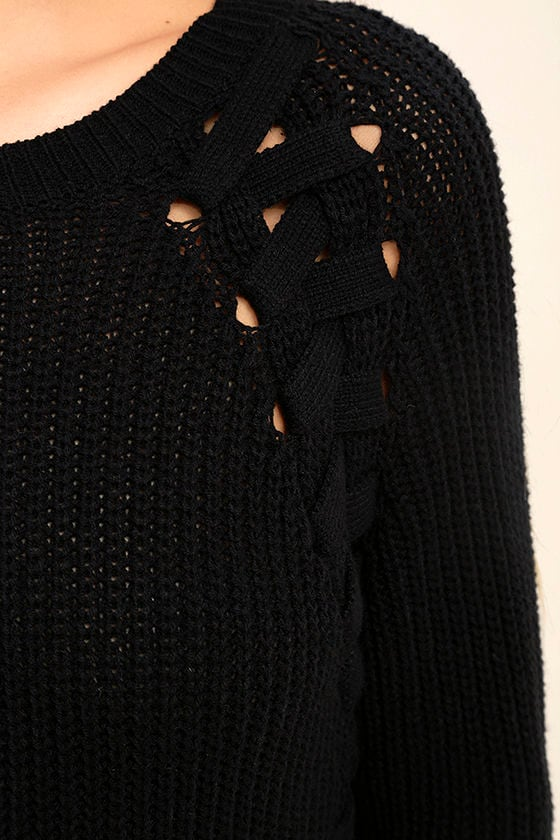 Right Now Black Lace-Up Sweater 6