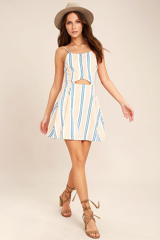 J.O.A. She's Like the Wind White Striped Skater Dress 1