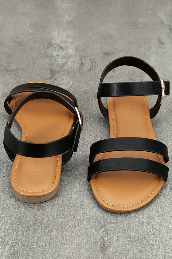Euphrates Black Flat Sandals 3