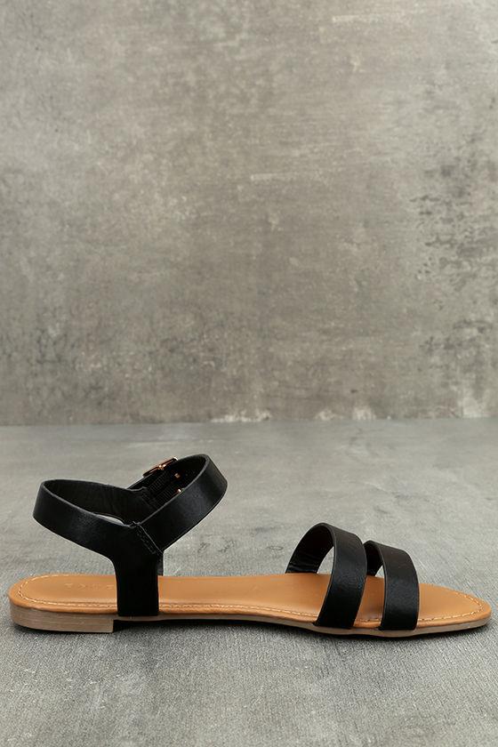 Euphrates Black Flat Sandals 4