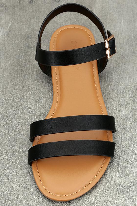Euphrates Black Flat Sandals 5