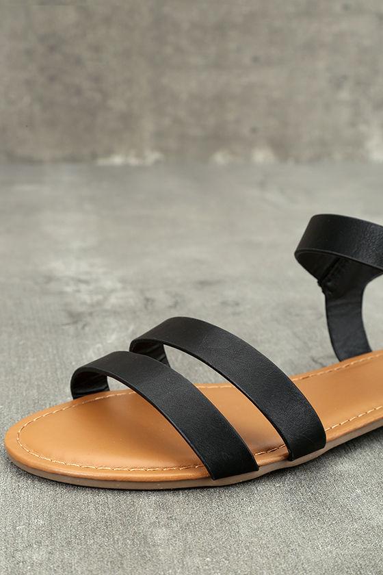 Euphrates Black Flat Sandals 6