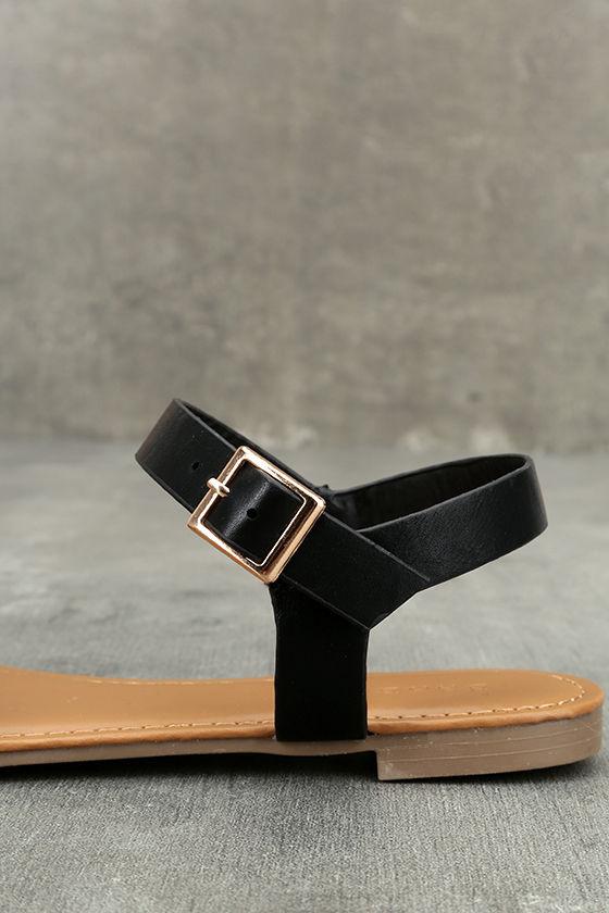 Euphrates Black Flat Sandals 7
