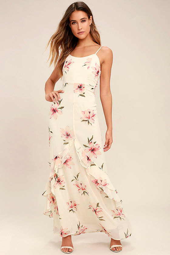 Lovely Cream Maxi Dress Floral Print Maxi Dress Ruffled Maxi