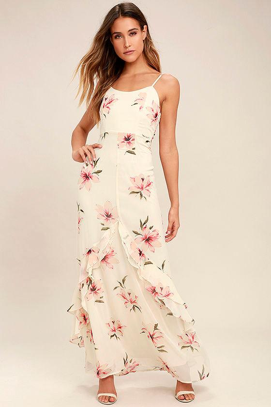 Bring the Rain Cream Floral Print Maxi Dress 1